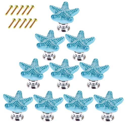 Starfish Drawer Pulls, WOLFBUSH 10 Pack Ceramic Drawer Knobs Handles for Cabinet Wardrobe Door - Blue ()