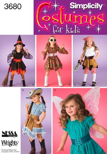 Simplicity Sewing Pattern 3680 Child Costumes, A (3-4-5-6-7-8) (Child Pirate Costumes Pattern)