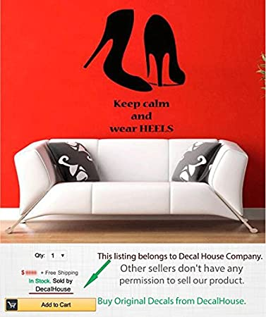 Wall Decals Quote Girl Woman Shoes Keep Calm And Wear Heels Fashion Vinyl Decal Sticker Living