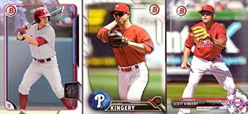 (Scott Kingery Phillies Pre-Rookie Baseball Card Lot of 3 - 2015 Bowman Draft Picks, 2016 Bowman Draft, and 2017 Bowman Draft)
