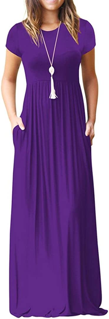 Neck Pleated Beach Sundresss ESAILQ Womens Maxi Dress Short Sleeve Loose Plain Casual Long with Pockets Women o Neck Swing Floor Length Party Going Out Straight Dresses Womens Summer Fasion