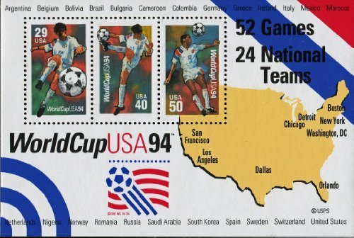 1994 Fifa World Cup - World Cup Soccer Souvenir Sheet of 3 Stamps Scott 2837 By USPS