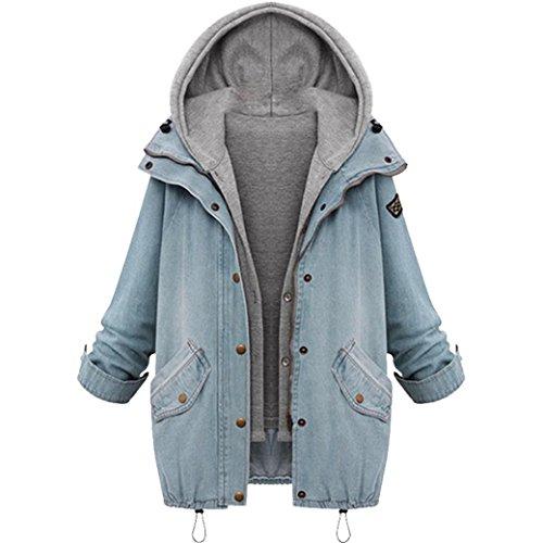 Manteau Oversize Femme Hiver,OverDose Vestes Boyfriend en Jean Sweat  Capuche Casual Hoodie Outwear Bleu
