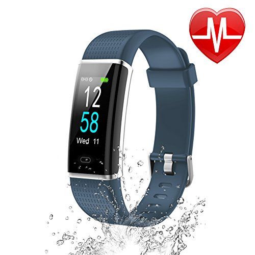 Letsfit Waterproof Fitness Tracker with Heart Rate Monitor, Color Screen Fitness Watch, Smart Bracelet with Sleep Monitor, Step Counter, Pedometer Watch for Kids Women and Men, 0.96 Screen, Gray