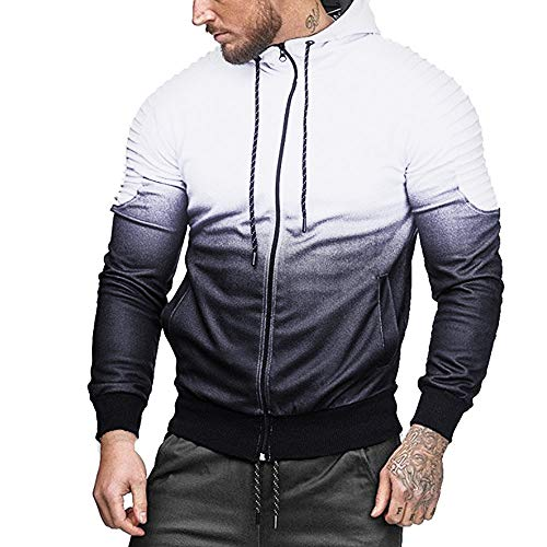 ◕‿◕ Toponly Men Long Sleeve Splicing Patchwork Fold Hooded Top Blouse Tracksuits