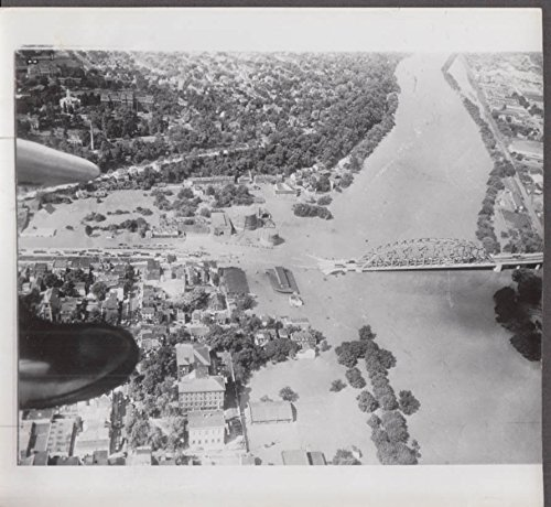 Aerial View Of Easton Pa During 1955 Flood News P O Delaware River Bridge