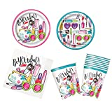 Unique Spa Party Bundle | Luncheon & Beverage Napkins, Dinner & Dessert Plates, Cups | Great for Slumber/Girly Birthday Themed Parties