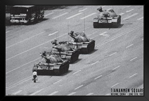 Beijing Print Poster (Pyramid America Tiananmen Square Chinese Military Tanks Protester June 1989 Framed Poster 18x12 inch)
