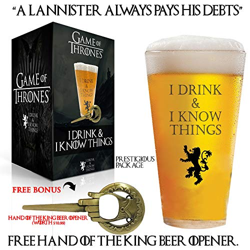 I Drink and I Know Things 17 oz Beer Glass + FREE Hand Of The King Bottle Opener Made In Casterly Rock – Game Of Thrones Inspired – Funny Novelty Gift - With Unique Gifts box included by Desired Cart 6