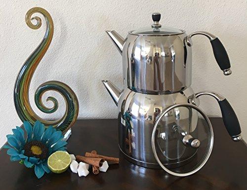 THE BEST Stainless Steel Double Teapot (Stainless Steel Glass Cover) Samovar / Tea Maker / Double Tea Kettle Pot – Samovar Style Water Boiler Kettle Special Offers