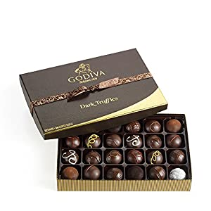 Godiva Chocolatier Assorted Dark Chocolate Truffles, Truffle Gift Box, Great as a Gift, Gifts for Her, Gifts for Mom, 24 Piece
