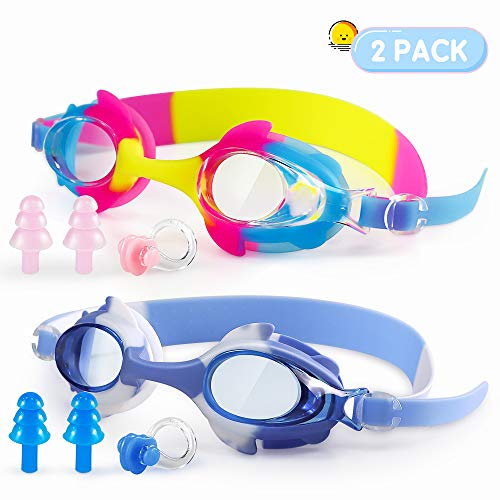 PORTHOLIC Kids Swim Goggles, Pack of 2 Swimming Goggles for Childs Children Teens (Age 4-16), Swim Glasses Leak Proof Anti-Fog UV Protection Adjustable Silicone Strap Clear Wide Vision