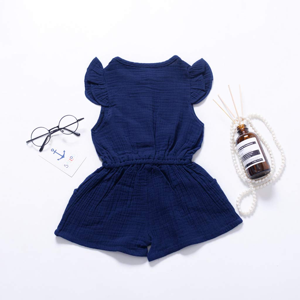 Riou Jumpsuit Baby M/ädchen Sommer /ärmellose Feste Blumen Overall Hosen Spielanzug Kleidung Romper Overall Body Babykleidung Set