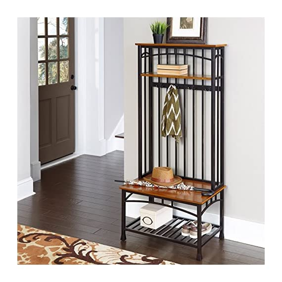 EHOME SUPERSTORE LLC Traditional Modern Hall Tree Equipped with 2 Fixed Shelves 4 Double Hooked Coat Rings and Solid Wood Bench Distressed Oak Finish Oak Veneer Furniture Entryway Home Décor - This Modern Hall Tree is reminiscent of the Craftsman Era with its understated style and simplicity. It marries a traditional distressed oak finish on veneer shelves with new age, deep brown powder-coated metal, accented with gold highlighting. This modern hall tree has two fixed shelves, four coat rings and a bench made of solid wood. It makes a functional, charming and versatile addition to your living room, den and more. This hall tree is an outstanding way to step up your interior decor. Traditional distressed oak finish on oak veneer shelves with new age, deep brown powder-coated metal, accented with gold highlighting. The hall tree is equipped with a 2 fixed shelves, 4 double hooked coat rings and a solid wood bench. - hall-trees, entryway-furniture-decor, entryway-laundry-room - 51HWf2WNimL. SS570  -
