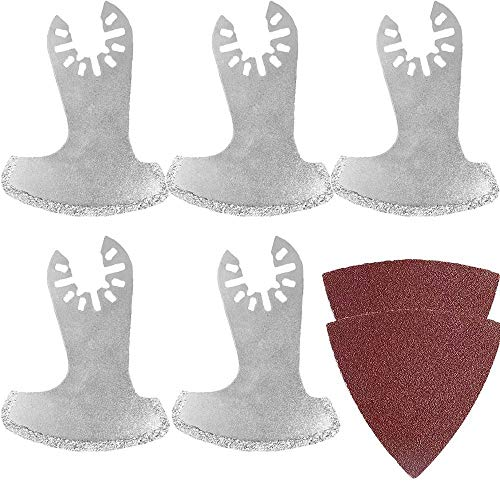 Oscillating Multitool Quick Release Masonry Saw Blades Sling Blades Diamond Edge Grout Coated Cutting Diamond Grit Boot Oscillating Saw Blade Free Emery Cloth (5 PCS)