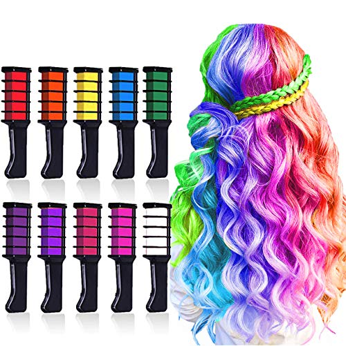 10 Colors Hair Chalk for Girls,Kids Temporary Bright Hair Color,Hair Chalk  Comb Birthday Gift for Girls Of Ages 4 5 6 7 8 9 10+ Washable Color for ...