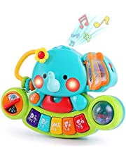 LUKAT Baby musikaliska elefantleksaker, småbarn piano tangentbord leksak med ljus och ljud musik aktivitetscenter pedagogiskt lärande gåvor för 6 9 12 18 24 månader spädbarn 1 2 år barn pojkar och flickor
