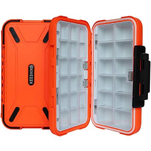 KEESHINE Waterproof Fishing Tackle Box, Storage Box, Plastic Fishing Lure Box, Removable Grid Storage Jewelry Organizer Making Kit Container for Lure Hook Beads Earring Tool(Orange)