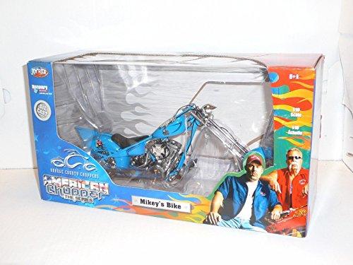 OCC ORANGE COUNTY CHOPPERS AMERICAN CHOPPER THE SERIES BLUE MIKEY'S BIKE CUSTOM CHOPPER 1:10 DIECAST Orange County Choppers Mikeys Bike