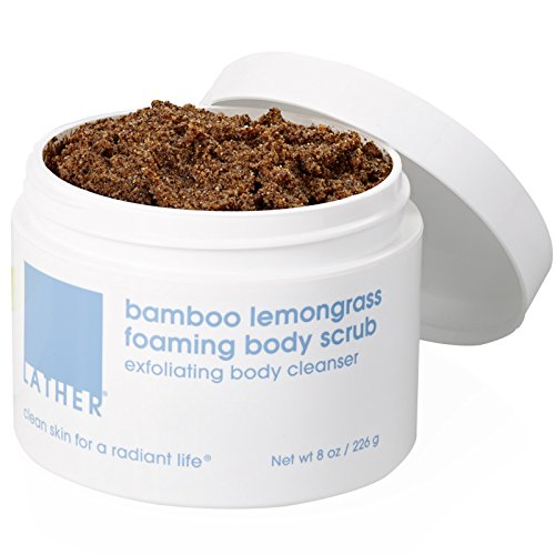 LATHER's BEST SELLER Bamboo Lemongrass Foaming Body Scrub 8 oz - a unique and luxurious multi-purpose foaming body scrub and (Body Buffing Cleanser)