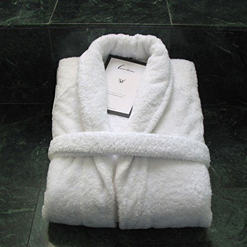 5th Avenue White Unisex Egyptian Cotton Luxury Bathrobe, One Size Fits Most by Luxor Linens (Image #3)