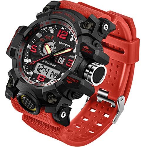 2017 New Brand SANDA Fashion Watch Men G Style Waterproof Sports Military Watches Shock Mens Luxury Analog Quartz Digital Watch (Red)