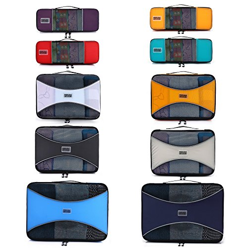 Pro Packing Cubes 10 Piece Lightweight Travel Cube Set of Suitcase Organizers