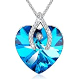 "Angelady""Wishbone""Pendant Necklace Sapphire Jewelry Gifts for Her Best Wishes,Blue Crystal from Swarovski"