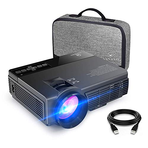(vankyo Leisure 3(Upgraded Version) 2400 Lux Mini Projector with 40000 Hours Lamp Life, LED Portable Projector Support 1080P and 170'' Display, Compatible with TV Stick, PS4, HDMI, VGA, TF, AV and USB)