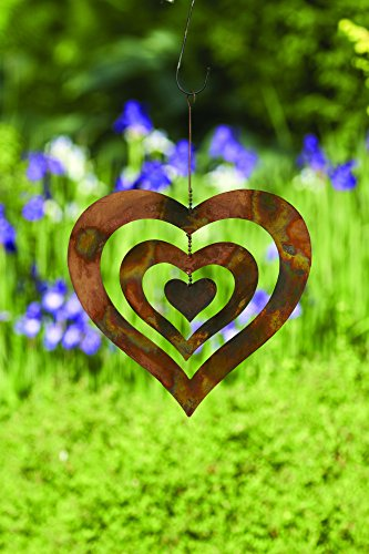 Happy Gardens Triple Heart Spinning Wind Chime, Metal Ornament, Outdoor Decor for Backyard, Patio, Garden, Home, Natural Hanging Flamed Finish Chime - 13 inches by -
