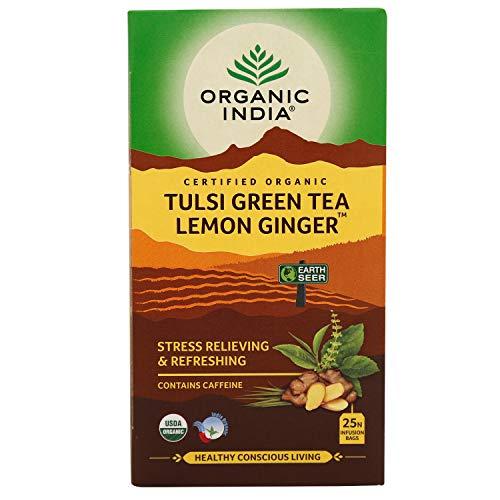 ORGANIC INDIA Tulsi Green Tea Lemon Ginger – 25 Tea Bags
