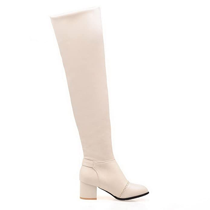 AgooLar Damen Ziehen auf Mittler Absatz Blend-Materialien Rein Knie Hohe Stiefel, Weiß, 34