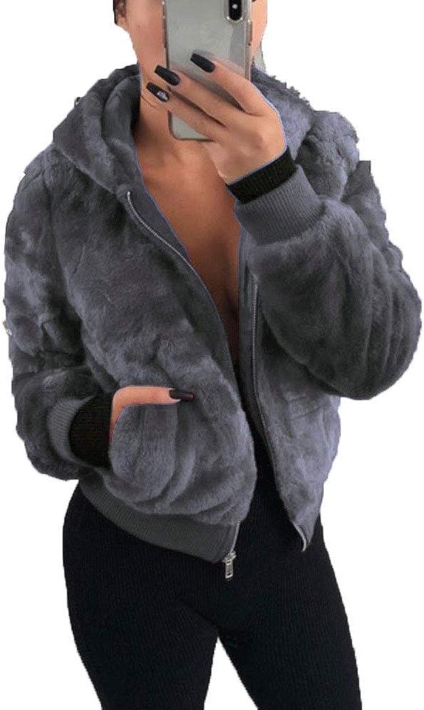 LGWQ Abrigo de Mujer Ropa Venta Moda Encantador otoño e Invierno de Piel sintética con Capucha de Piel de Zorro Conejito Abrigo de Hierba Femenina Abrigo cálido Chaqueta Parka Outwear Abrigo Exterior
