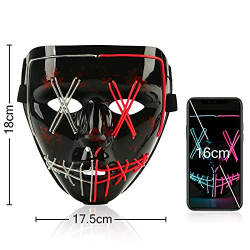 Koogel Halloween LED Mask, Light up Mask Cosplay LED Rave Face Mask for Men Women Kids , Halloween Festival Party