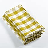 Fennco Styles Gingham Plaid Cotton Napkins - 6 Colors - Set of 4 (Chartreuse)