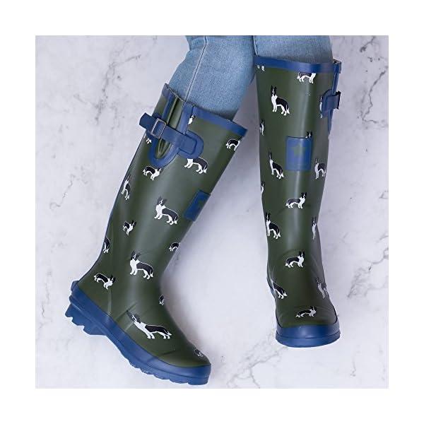 Spylovebuy Igloo Women's Adjustable Buckle Flat Festival Wellies Rain Boots 2