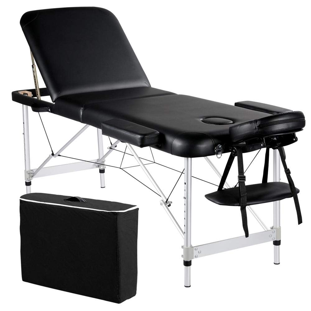 Yaheetech Portable Massage Table 84inch Massage Bed Aluminium Height Adjustable Facial Salon Tattoo Bed with Carring Case, 3 Fold, Extra Wide, Black by Yaheetech