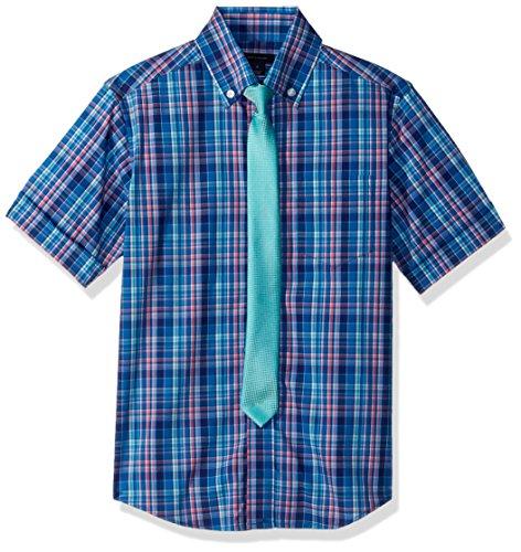 (Tommy Hilfiger Boys' Big Short Sleeve Dress Shirt with Tie, Regatta Blue, 14)