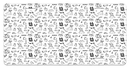 Doodle Garment - Heels and Dresses License Plate by Ambesonne, Female Fashion Themed Pattern Sketch Cartoon Style Doodle Garments, High Gloss Aluminum Novelty Plate, 5.88 L X 11.88 W Inches, Black and White