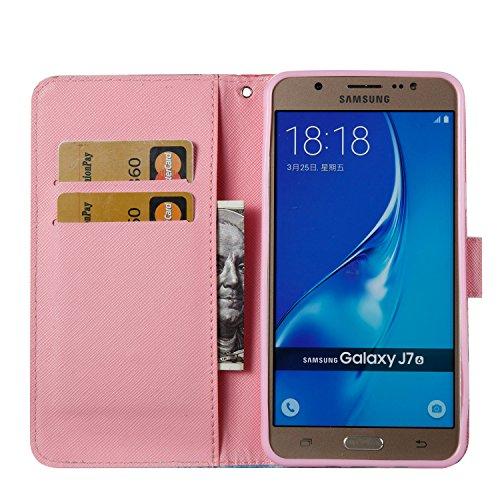 Samsung Galaxy J7 2016 PU Cuero Funda, Vandot 3D Bling Rhinestones Mariposa Shell TPU Inner Bumper Case Funda con Billetera Tapa Holster Cierre Magnético Tarjeta Ranura Carcasa Teléfono Concha Bolsa C DZCH3-3