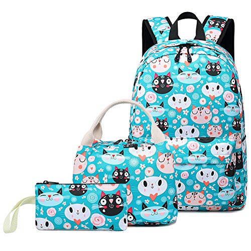 - School Backpack Teens Kids School Bag Set 3 in 1 Cute Cat Printed 14 inch Laptop Bookbags Water Resistant Travel Casual Daypack