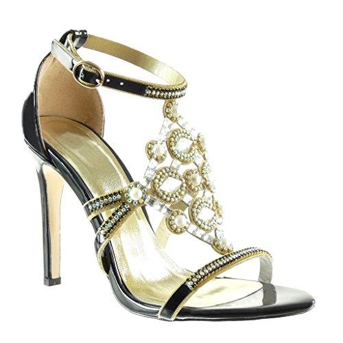 Angkorly Damen Schuhe Pumpe - Stiletto - Offen - Abend - Schmuck - Perle - Strass Stiletto High Heel 10.5 cm Schwarz