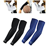 2 Pairs of Arm Sleeves Scorpion Cool Arm Sleeves UV Protection for Youth Kids Arm Warmers for Cycling Golf Baseball Basketball, Black, Navy
