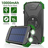 Solar Charger 10000mAh, Portable Solar Power Bank IPX4 Splashproof Outdoor Travel Qi Wireless Solar Panel Charging External Battery Pack with DC5V/2.1A USB Output/Type-C Input/Dual Flashlight/Compass