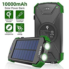FEATURES: Product Name: Wireless Solar Power Bank  Micro USB Input: DC 5V/ 2.1A Type C Input: DC 5V/ 2.1A (6 hours fully charged) USB Output: DC 5V/ 2.1A Wireless Output: DC 5V/ 1.0A Waterproof Rating: IPX4 Product Size: 5.9*3.1*0.8 inch Prod...