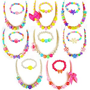 Best Epic Trends 51HWhOnJA%2BL._SS300_ 3 otters Necklace for Girls, 8PCS Little Girls Jewelry Beaded Necklace Bracelet Sets Jewelry for Kids Summer Decoration