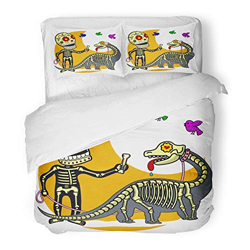 (Emvency Bedding Duvet Cover Set Twin (1 Duvet Cover + 1 Pillowcase) Boy Walking to Dinosaur Flat and Linear of Skeleton Advertisements Brochures Hotel Quality Wrinkle and Stain)
