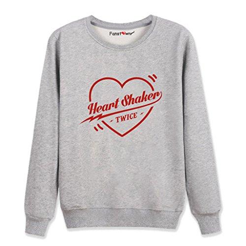 怪物後生むFanstown kpop 韓流人気グループ TWICE「Heart Shaker」シングルロゴの応援パーカー+バッジ