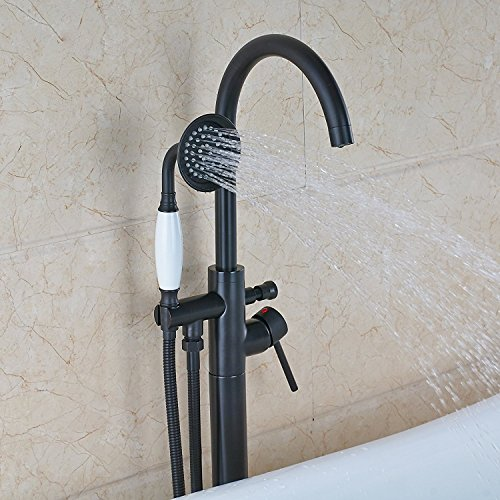 Bronze New Floor Mounted Bathroom Tub Shower Faucets Free Standing Bathtub Shower Mixer Taps Single Lever with Hand Sprayer (Freestanding Tub Faucets)