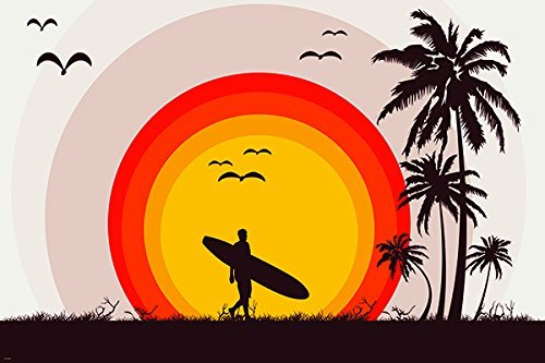 surfer tropical beach Vintage Art Poster palm trees Surf Board birds by Hse